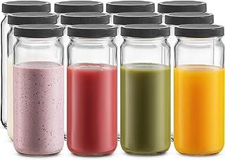 Travel Glass Drinking Bottle Mason Jar 16 Ounce [12-Pack] Plastic Airtight Lids, Reusable Glass Water Bottle for Juicing, Smoothies, Kombucha, Tea, Milk Bottles, Homemade Beverages Bottle,