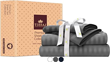 Tissaj Twin Size Bed Sheets Set - Stripes Smoke Gray - 100% GOTS Certified Organic Cotton - 300 TC Thread Count - 4 Piece ...