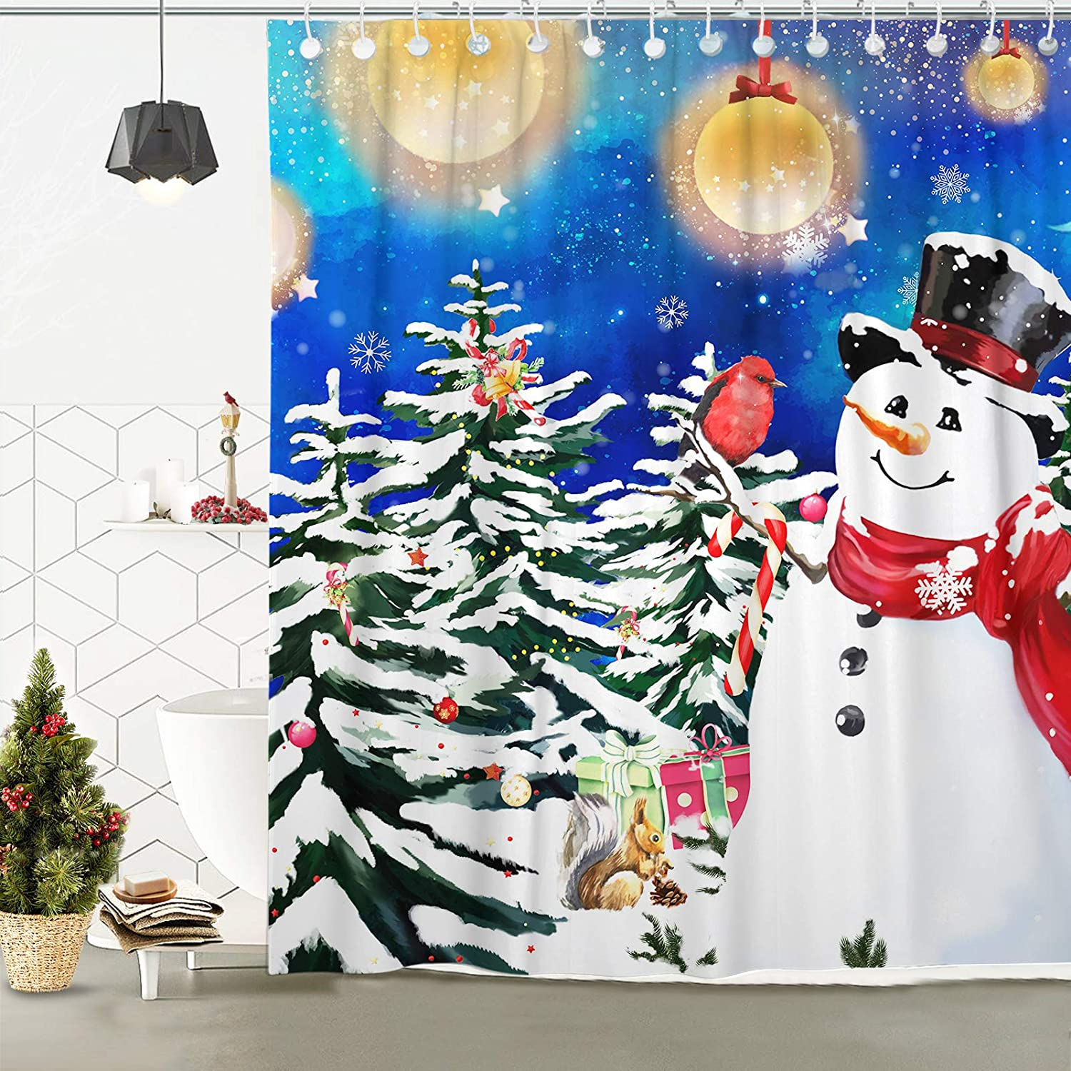 """Hexagram Christmas Shower Curtains Snowman with Fantasy Christmas Bubbles Polyester Winter Bathroom Waterproof Shower Curtains with Hooks,Christmas Decor for Bathroom 72/""""x72/"""""""