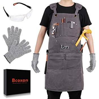 Bcoxan Woodworking Aprons for men,Shop Apron with Protective Gloves and Glasses, Heavy Duty Waxed Canvas Work Apron, Magnetic Strip Tool Apron For Men From S to XXL
