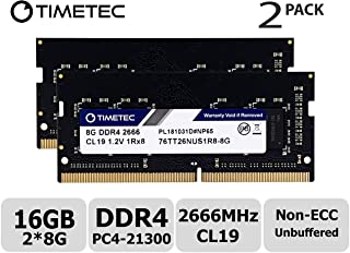Timetec Hynix IC DDR4 2666MHz PC4-21300 Unbuffered Non-ECC 1.2V CL19 2Rx8 Dual Rank 260 Pin SODIMM Laptop Notebook Computer Memory RAM Module Upgrade (16GB(8GBx2))