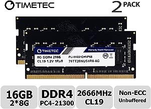Timetec Hynix IC 16GB KIT (2x8GB) DDR4 2666MHz PC4-21300 Unbuffered Non-ECC 1.2V CL19 1Rx8 Single Rank 260 Pin SODIMM Laptop Notebook Computer Memory RAM Module Upgrade (16GB KIT (2x8GB))