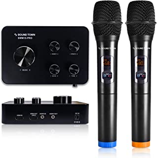Sound Town Wireless Microphone Karaoke Mixer System w/ HDMI ARC, AUX, Bluetooth -Support..