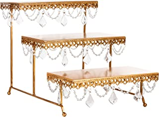 Amalfi Decor 3 Tier Dessert Cupcake Stand, Pastry Candy Cake Cookie Serving Platter for Wedding Event Birthday Party, Rectangular Metal Plate Tower Tray Holder with Crystals, Gold