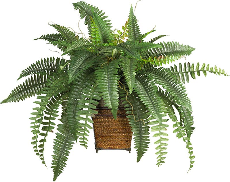 Nearly Natural 6549 23in Boston Fern With Wicker Basket Silk Plant