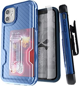 Ghostek Iron Armor Belt Clip iPhone 11 Holster Case with Kickstand and Card Holder Slot Slim Shockproof Design Heavy Duty Protection Wireless Charging Compatible 2019 iPhone 11 (6.1 Inch) - (Blue)