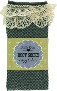 Britt's Knits Boot Socks Hearts with Cotton Lace, Charcoal, One Size