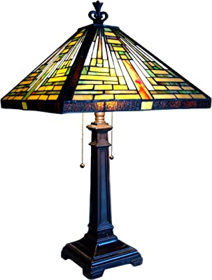 """RADIANCE Goods Tiffany-Style 2 Light Mission Table Lamp 14"""" Shade"""