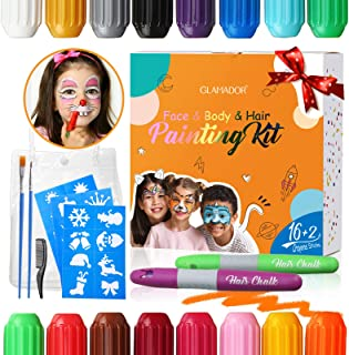 Pinturas Cara para Niños-GLAMADOR Kit de Pintura Faciales y Corporales-16 Colores2 Tiza de Pelo28 Plantillas Pequeñas-Se...