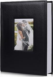 RECUTMS Photo Picture Album 4x6 300 Photos,Small Capacity Premium Leather Cover Wedding Family Photo Albums Holds 300 Horizontal Photos(Black)