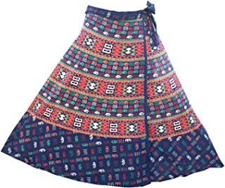 FashionShopmart 36 inch Length Wrap Around Women's Skirt Rajasthani Free Size Skirt D3, Women's Wrap Around Skirt Blue
