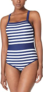 Ocean Blues Womens Vintage Stripe Bathing Siut Padded Push up One Piece Swimsuits