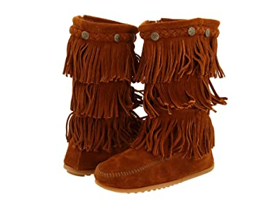 Minnetonka Kids 3-Layer Fringe Boot (Toddler/Little Kid/Big Kid) (Brown Suede) Girls Shoes