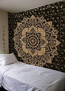 Popular Handicrafts Hippie Mandala Tapestry Wall Hanging - Indian Passion Ombre Maditation Black Gold Gypsy Bohemian Hippy Psychedelic Dorm Room Decor Poster 30 x 40 Inch