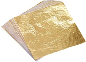 Bememo 100 Sheets Imitation Gold Leaf for Arts, Gilding Crafting, Decoration, 5.5 by 5.5 Inches