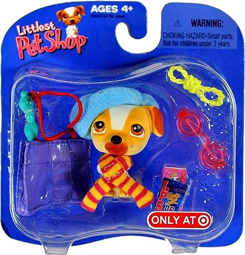Littlest Pet Shop - Hund   franz sche Bulldogge mit Schal, Barret, Sonnebrille, Tasche und Hundespielzeug Seil - OVP Hasbro