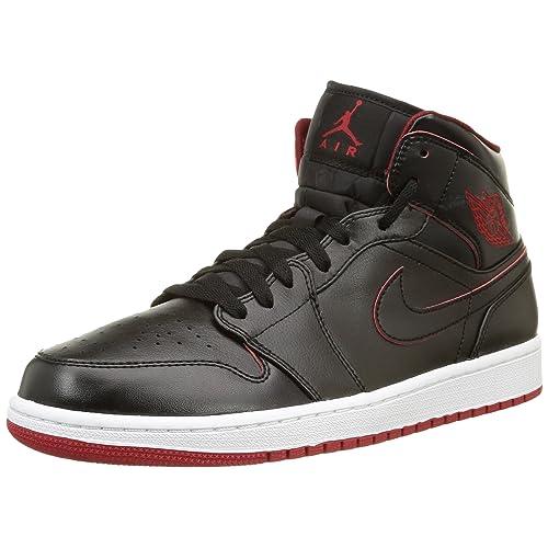 c900e7f7740 Nike Men s Air Jordan 1 Mid Black Black White Gym Red Basketball Shoe