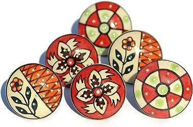 OwlKraft Set of 6 Handmade Red Theme Flat Ceramic Knobs - Cabinet knobs - Drawer knobs - Cabinet pulls - Door knobs