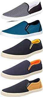 Chevit Men's Grey; Black; Blue and Beige Canvas Casual Shoes Combo Pack of 5