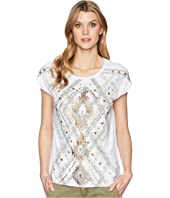 Jersey Cap Sleeve Top with Beaded Detail