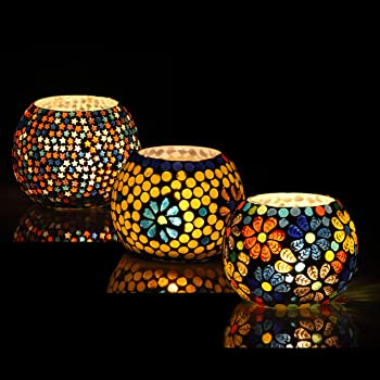 Brahmz® Set of 3 Handmade Glass Mosaic Turkish Moroccan Tea Light Candle Holders (MD7)