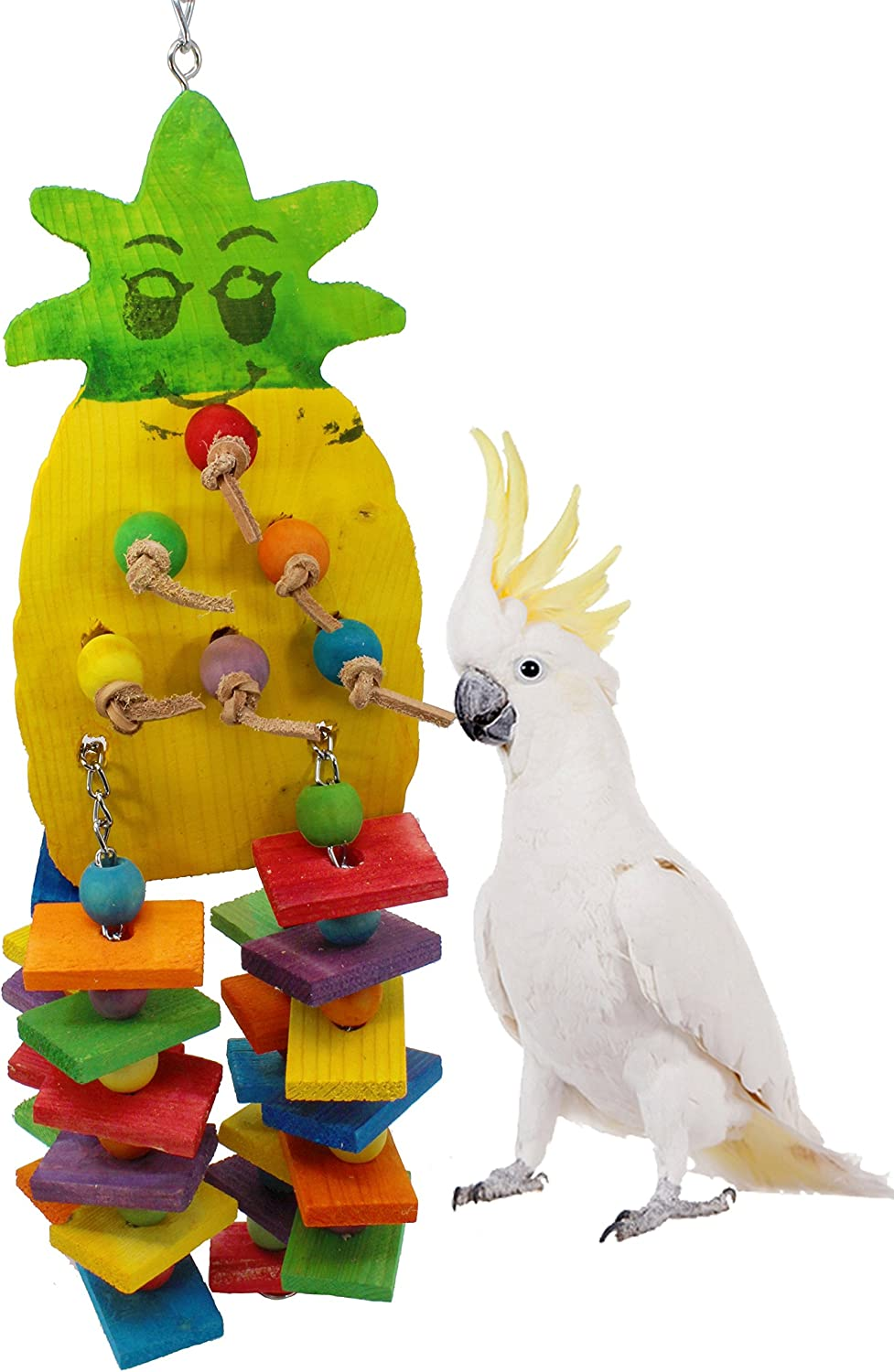 Bonka Bird Toys 1734 Large Pineapple Wood Bird Toy Parred cage Macaw African Grey chew Foraging Cockatoo Supplies Big Knots Blocks Leather preening Aviary Accessories