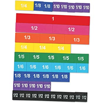 Learning Resources Magnetic Rainbow Fraction Tiles, Visual/Tactile Learning, Soft Foam Magnetic Tiles, 51 Pieces, Ages 6+