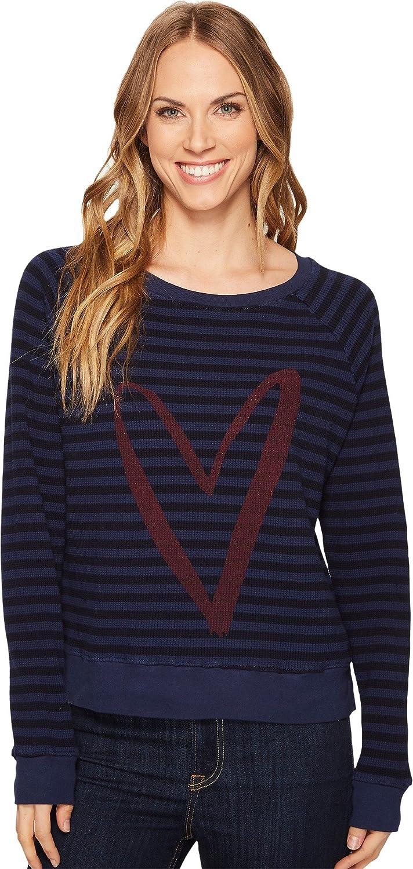Allen Allen Womens Stripe Thermal Long Sleeve Raglan Top