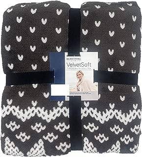 Berkshire Velvet Soft 50x70 Lightweight Warm Plush Throw (Dark Grey & White Knit)
