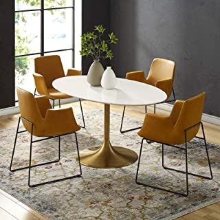 """Modway Lippa 60"""" Mid-Century Modern Dining Table with Oval Top in Gold White"""
