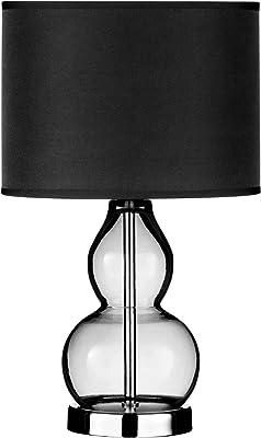 Premier Housewares Chrome Table Lamp with 2 Smoke Grey Glass Balls and Smoke Grey Shade