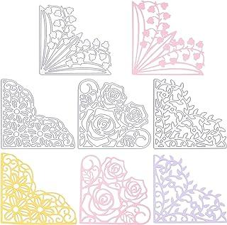 GLOBLELAND 4 pièces Coin Dentelle Métal Matrices de Découpe Fleur Dentelle Poche Découpe Matrices Gabarit de Gabarit pour ...