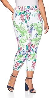 Women's Plus Size Tropical Orchid Essential Denim Capri Leggings