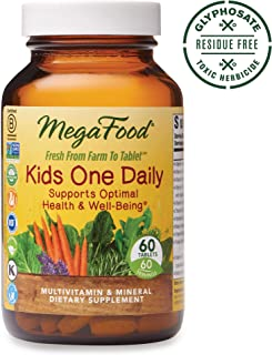 MegaFood, Kids One Daily, Daily Multivitamin and Mineral Dietary Supplement with Vitamins, C, D and Folate, Non-GMO, Vegetarian, 60 Tablets (60 Servings) (FFP)