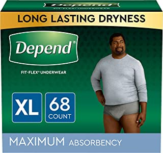 Depend FIT-FLEX Incontinence Underwear for Men, Maximum Absorbency, Grey, Extra-Large, 68 Count