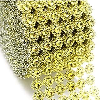 Gold Mesh Ribbon Flower Shape Rhinestone Ribbon Mesh Wrap Roll Diamond Bling Mesh for Wedding Decorations, Wedding Cake, Birthdays, Party Supplies, Arts & Crafts, 4