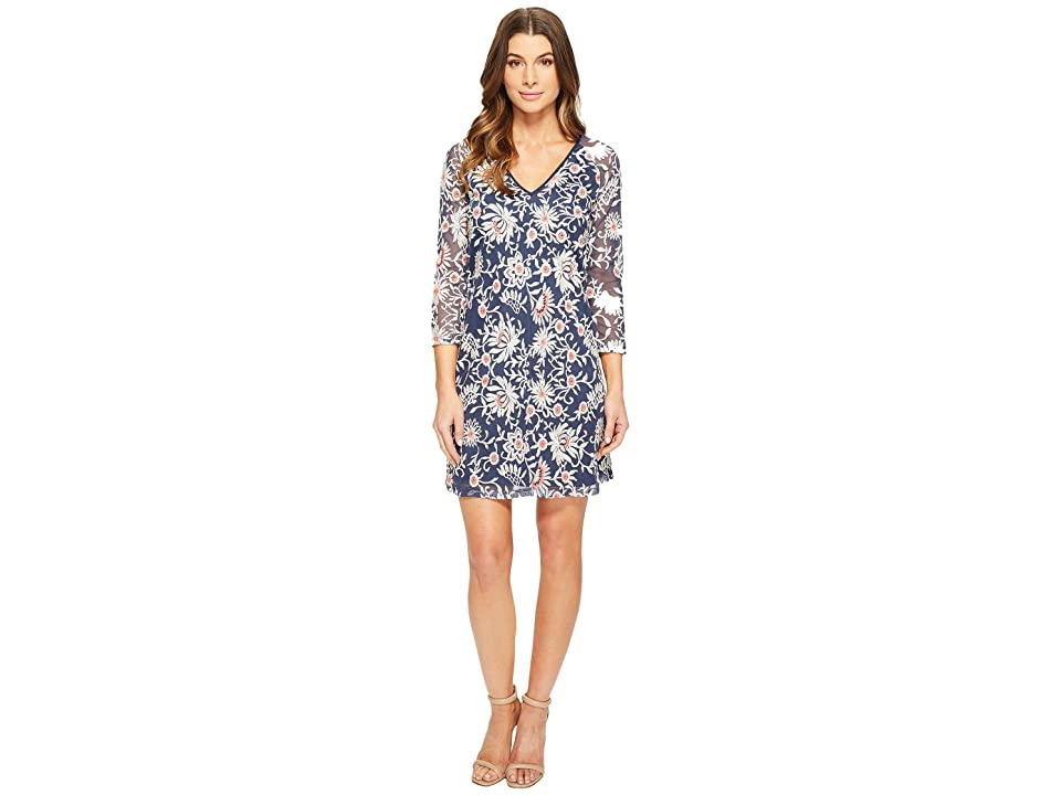 Adrianna Papell Marrakesh Embroidery Trapeze (Navy/Taupe) Women