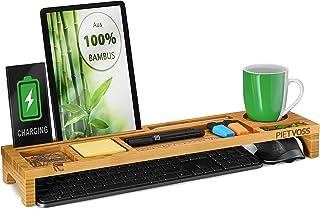 Organiseur de clavier de bureau en bambou, tablette supérieure pour une organisation optimale. Support pour iPhone, compar...