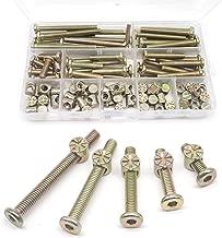 binifiMux Crib Hardware Screws, 50 Set(100Pcs) M6 Furniture Barrel Nut Bolt Assortment Kit, Hex Socket M6 x 20mm/ 30mm/ 40mm/ 50mm/ 60mm Crib Bolt Barrel Nut