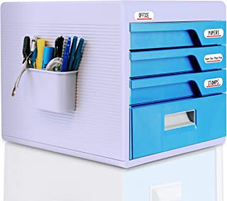 Locking Drawer Cabinet Desk Organizer - Home Office Desktop File Storage Box w/ 4 Lock Drawers, For Filing and Organizing Paper Documents, Tools, Kids Craft Supplies - SereneLife SLFCAB20 (Renewed)