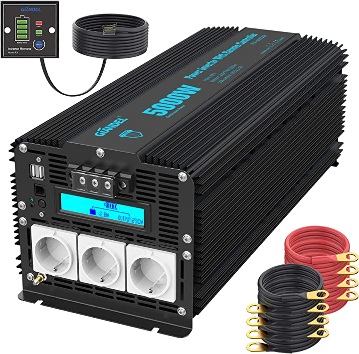 Power inverter 12v a 220v 230v onda modificata con lcd display 3 prese ac doppia porta giandel 5000w/10000w PM-5000QBR-it BK