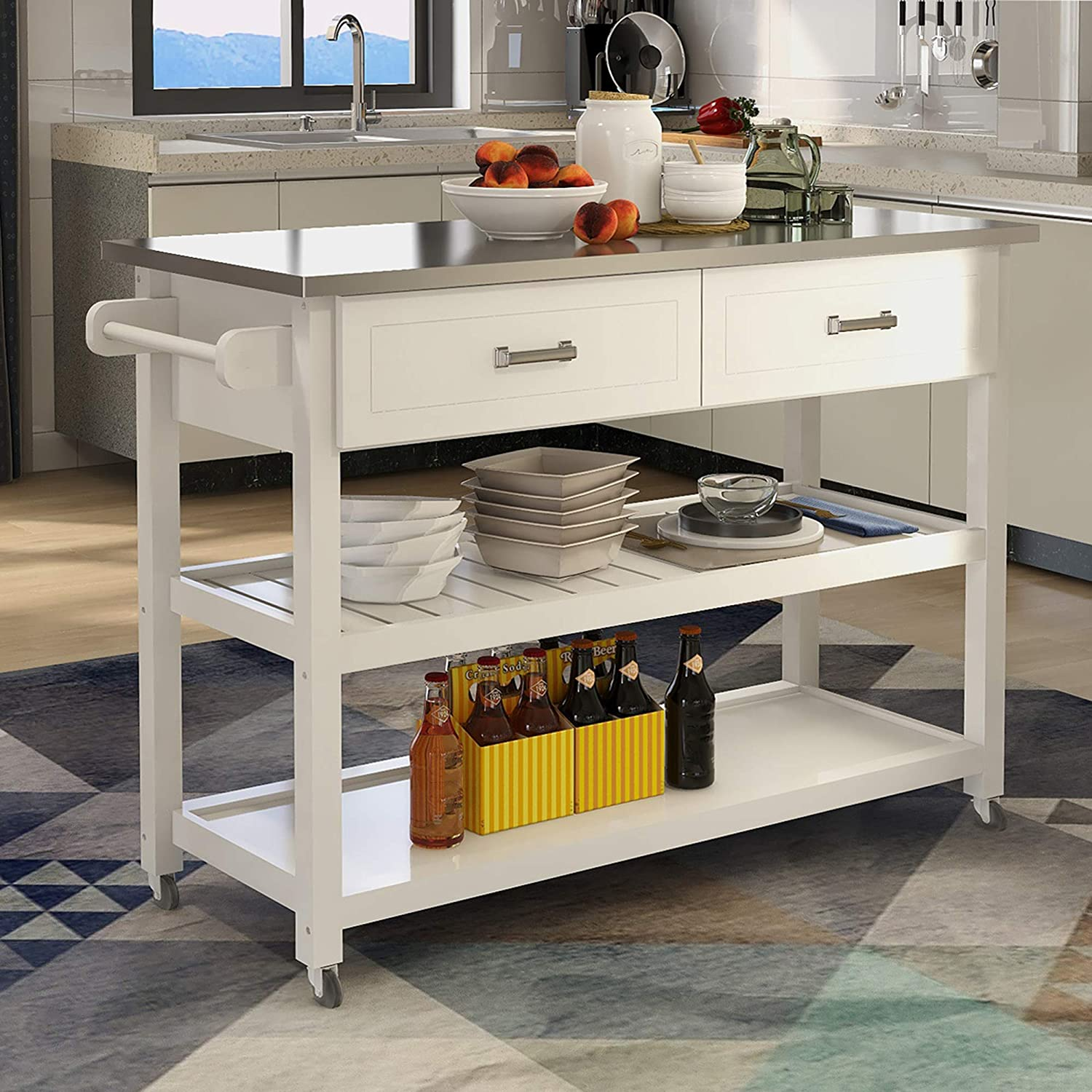 GIKPAL Kitchen Island Cart with Wheels, 9 Tier Kitchen Rolling Utility Cart  with 9 Drawer and 9 Spacious Storage Shelf Stainless Steel Table Top ...