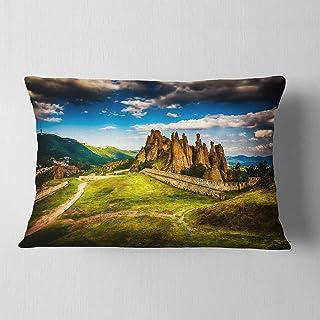 Designart Belogradchik Fortress and Cliffs' Landscape Printed Throw Lumbar Cushion Pillow Cover for Living Room, sofa 12 i...