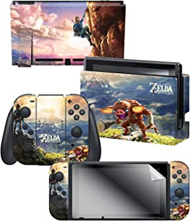 """Controller Gear Officially Licensed Nintendo Switch Skin & Screen Protector Set - The Legend of Zelda -  Breath of the Wild """"Link Hilltop View"""" - Nintendo Switch"""