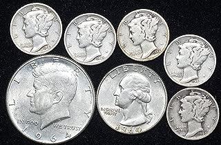 1900 Era 90% Silver Coin Lot Kennedy Half, Washington Quarter, 5 Mercury Dimes ($1.50Face 90%) VG and Better