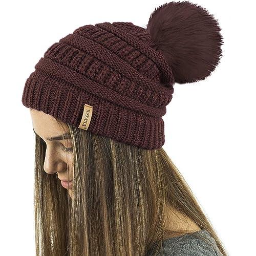 77c8d1517bf TOSKATOK® Ladies Textured Knit Beanie Hat with Detachable Faux Fur Pom Pom  - Buy with