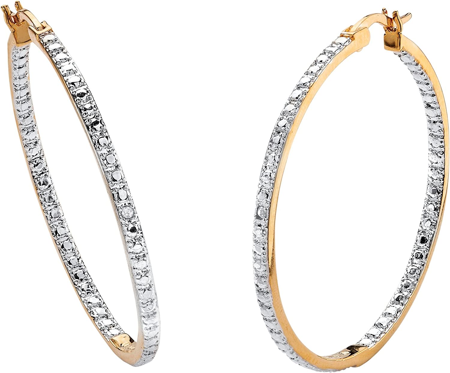 18K Yellow Gold Plated Genuine Overseas parallel import regular Milwaukee Mall item Diamond Out Ea Hoop Accent Inside