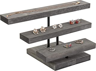 MyGift 3eTier Rustic Grey Wood Jewelry Display Riser Stand