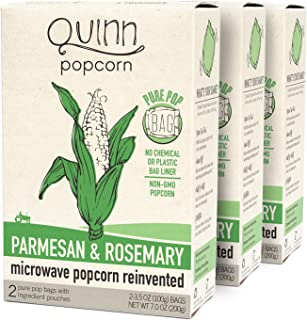 Quinn Snacks Microwave Popcorn - Made with Organic Non-GMO Corn - Parmesan & Rosemary, 7 Ounce (Pack of 1)