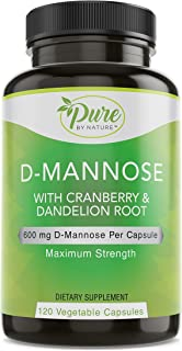 Pure By Nature D-Mannose with Cranberry and Dandelion Root, 120 Count